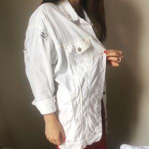Ripped white over sized jacket